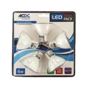 ACDC Dichroic GU10 220V 6W LED- Daylight 5pk