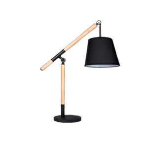 BRIGHT STAR METAL AND WOOD TABLE LAMP WITH BLACK FABRIC SHADE