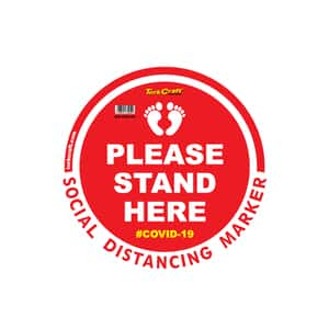 """77986-Round Sticker 300mm-""""PLEASE STAND HERE-COVID-19"""""""